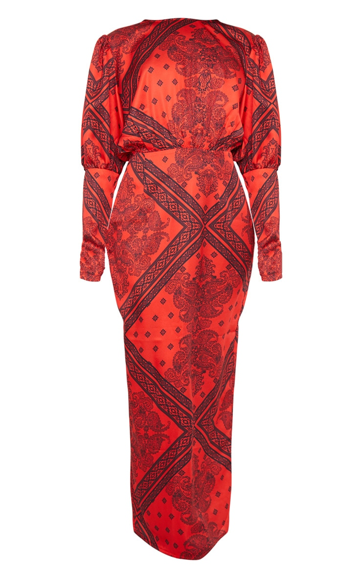Rust Satin Tile Printed Puff Sleeve Maxi Dress 5