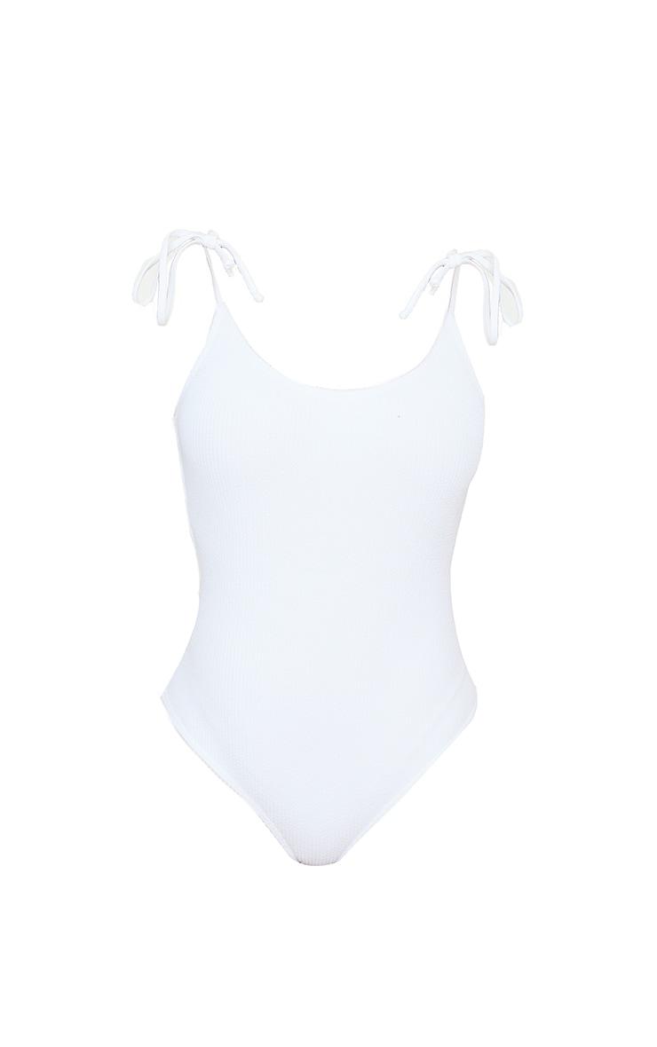 White Crinkle Tie Shoulder Swimsuit 5