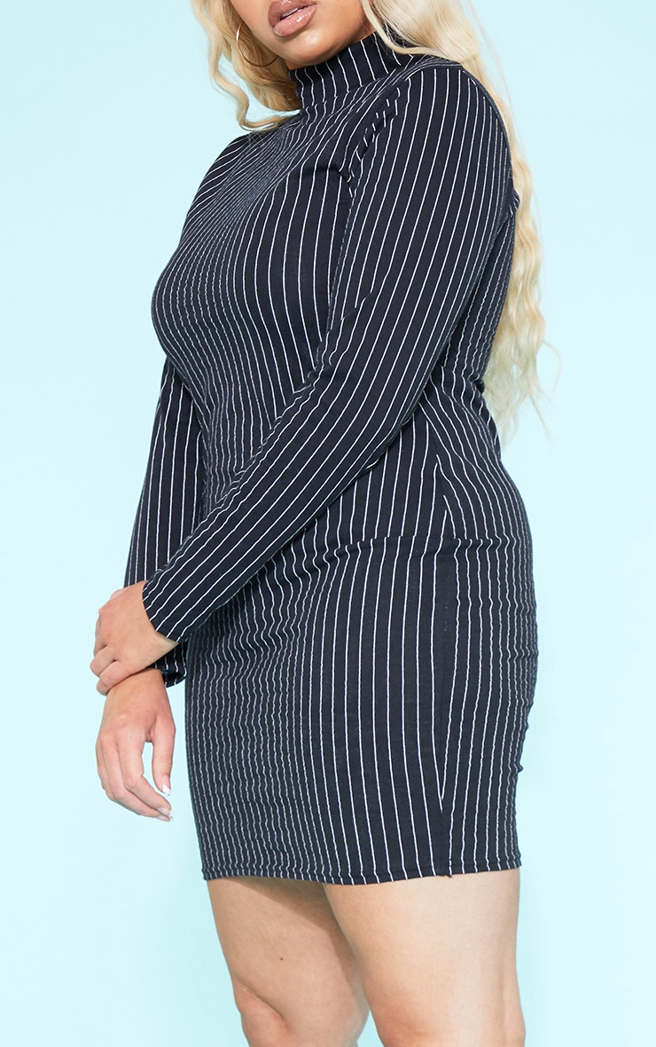 RECYCLED Plus Black Pinstripe Roll Neck Long Sleeve Bodycon Dress 6