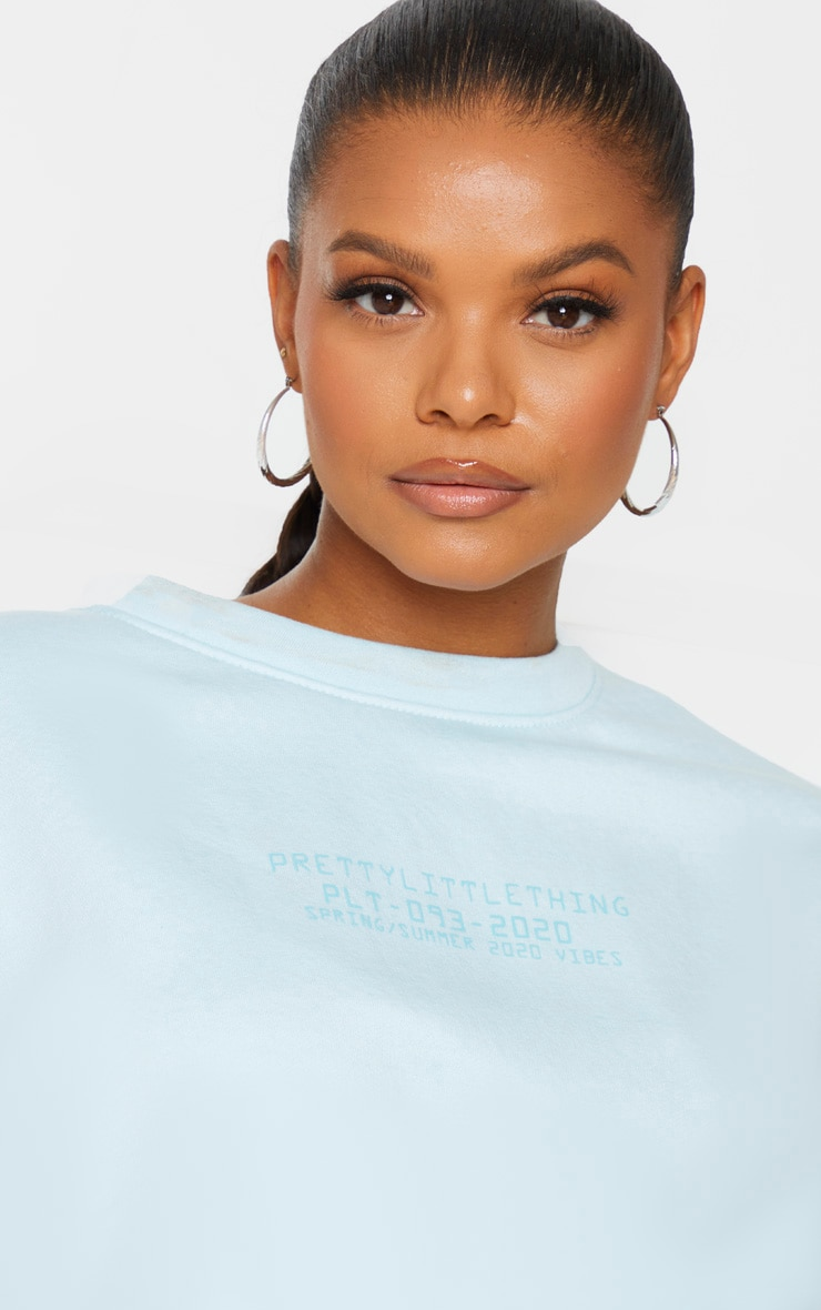 PRETTYLITTLETHING Plus Dusty Blue Sweat Crop Sweater 4