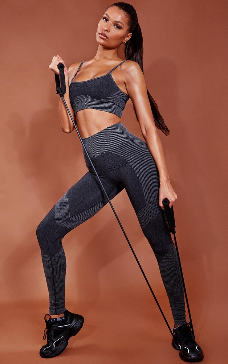PRETTYLITTLETHING Grey Ribbed Waist Seamless Gym Legging 1
