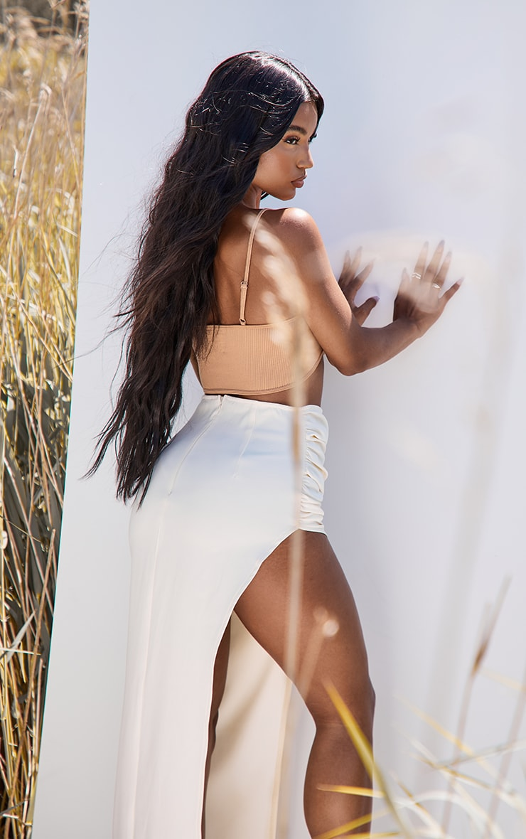 Camel Structured Contour Ribbed Strappy Bralet 2