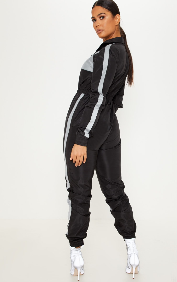 Black Shell Reflective Panelled Jumpsuit 2