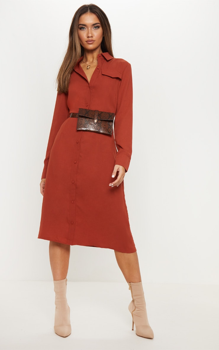 84eff06b0b1 Terracotta Long Sleeve Midi Shirt Dress image 1