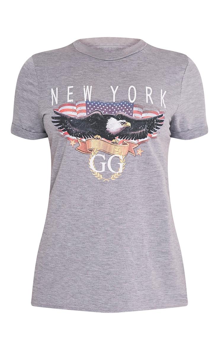 New York Slogan Grey T Shirt 3