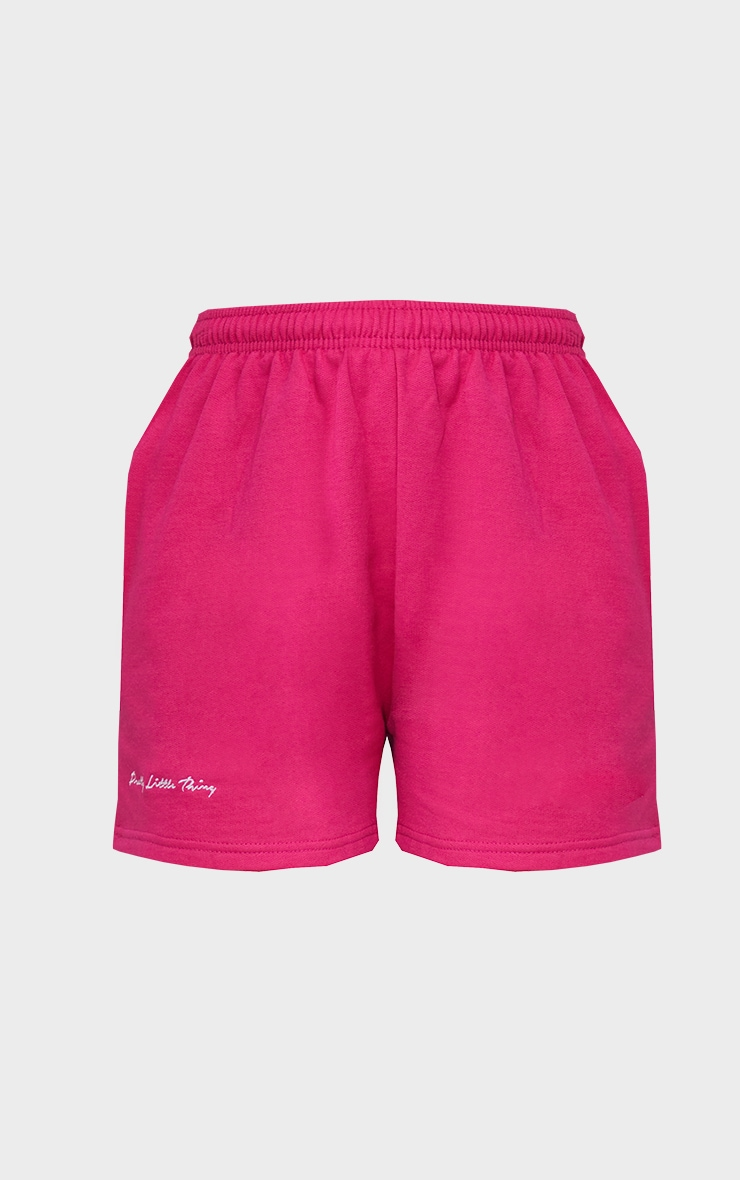 PRETTYLITTLETHING Hot Pink Embroidered Logo Sweat Shorts 6