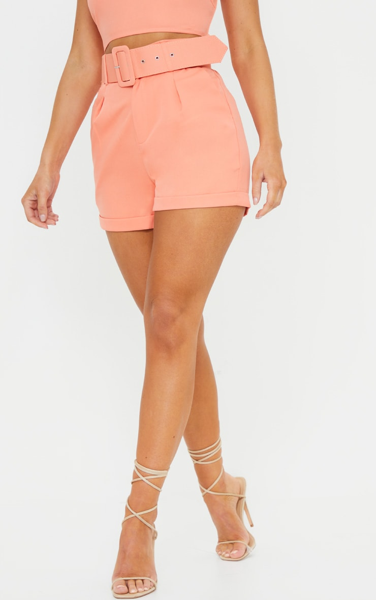 Coral Woven Belted Turn Up Hem Shorts 2