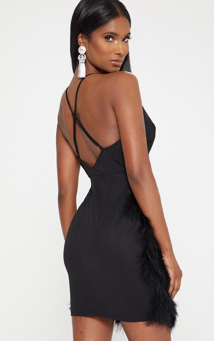 Black Strappy Extreme Plunge Feather Bottom Dress 2
