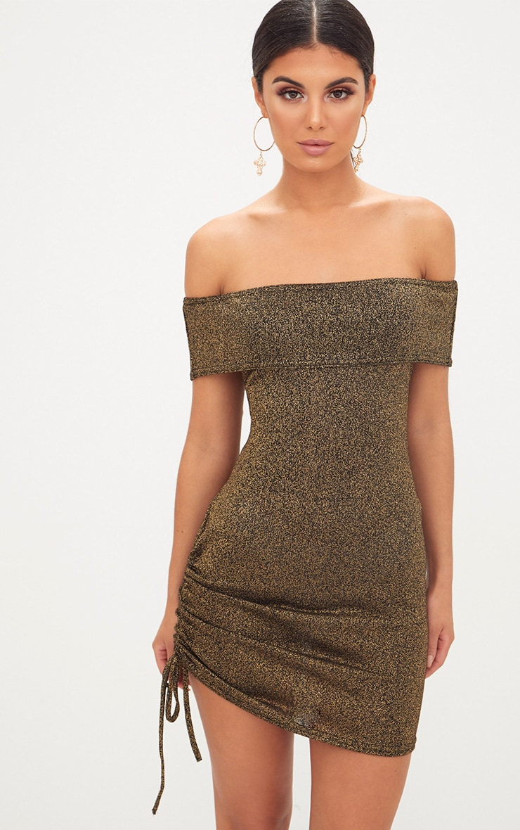 Gold Glitter Ruched Side Bardot Bodycon Dress 1