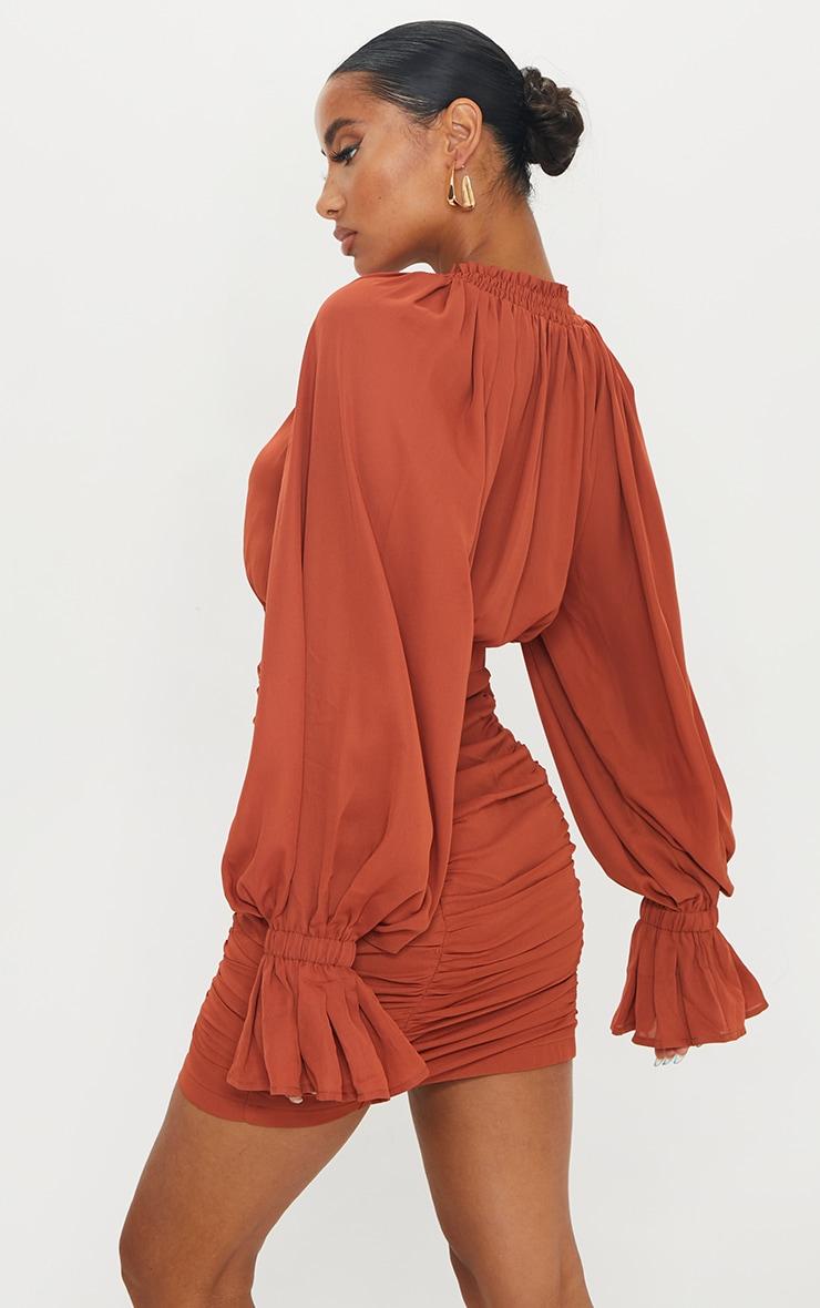 Rust Chiffon Plunge Ruched Balloon Sleeve Bodycon Dress 2
