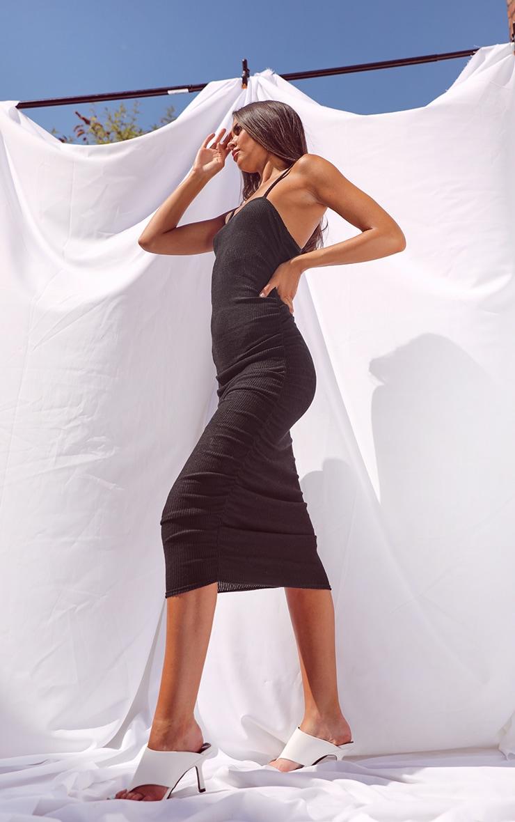 Black Brushed Rib Strappy Ruched Midi Dress 3