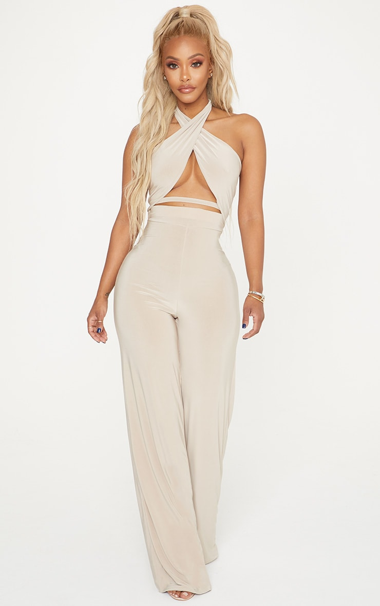 Shape Champagne Slinky Wrap Detail Crop Top 4