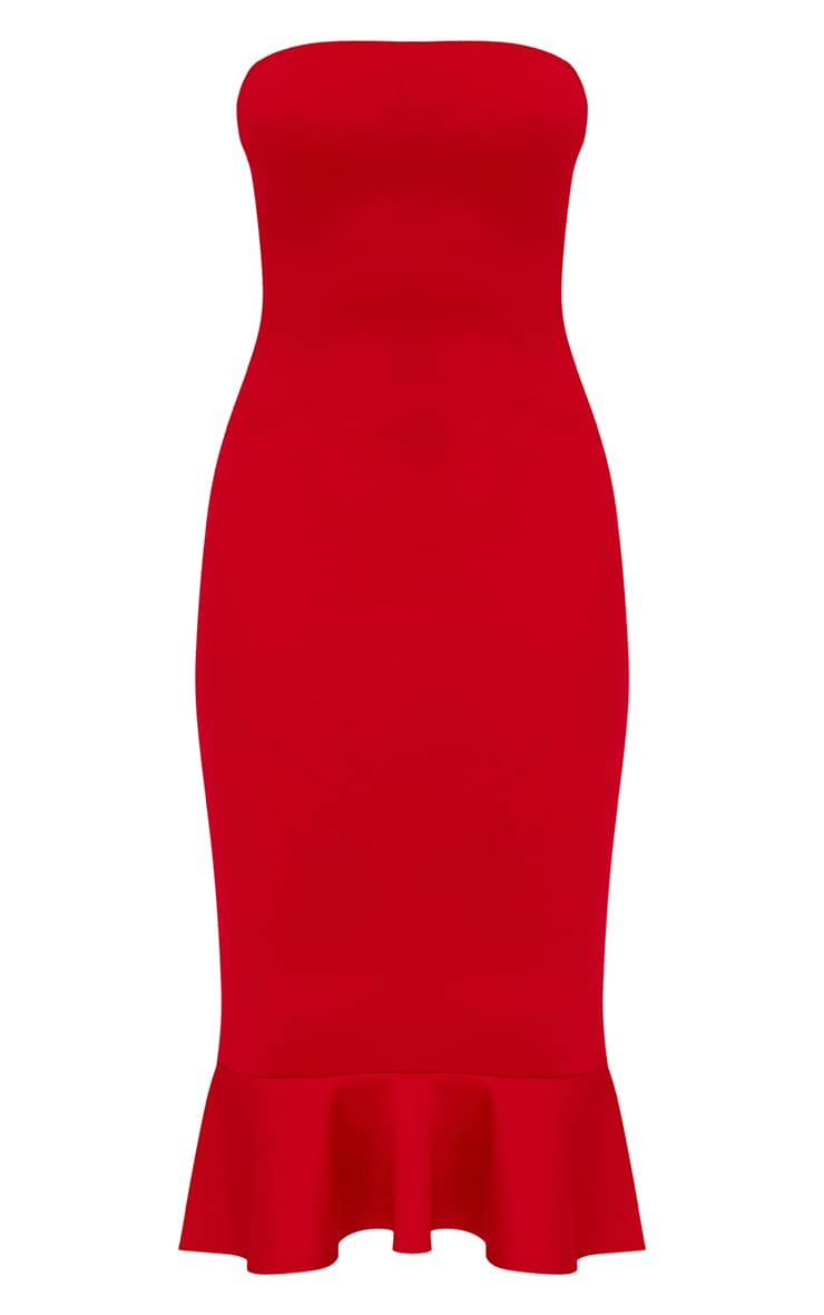 Petite Red Frill Midaxi Dress 3