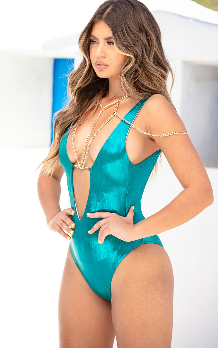 Blue Metallic Harness Chain Swimsuit 2