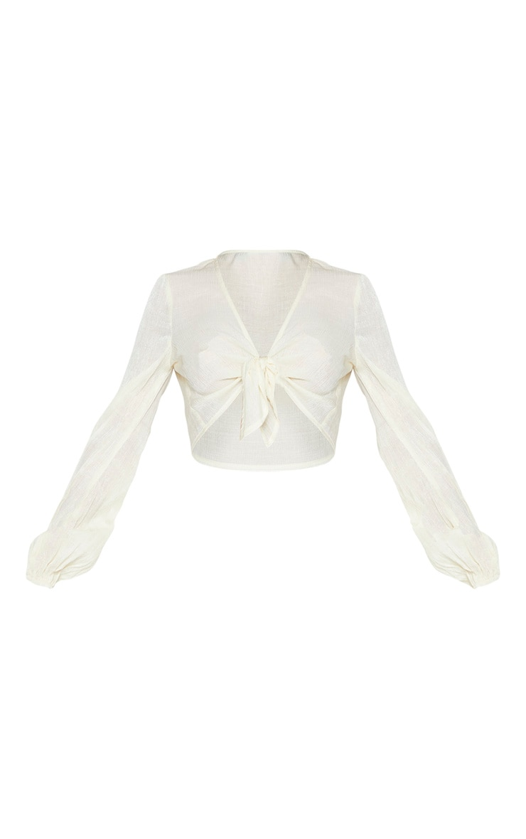 Cream Textured Tie Front Long Sleeve Crop Top 3