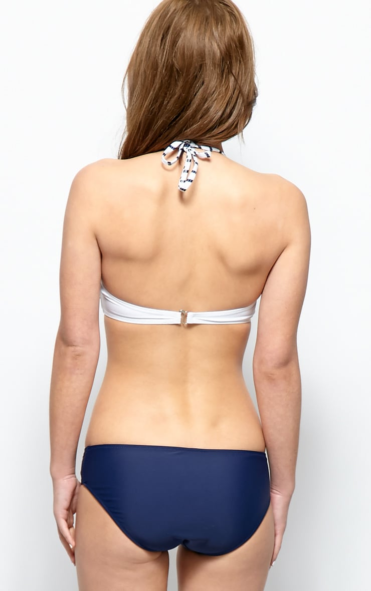Blair White And Navy Halterneck Bandeau Bikini 2