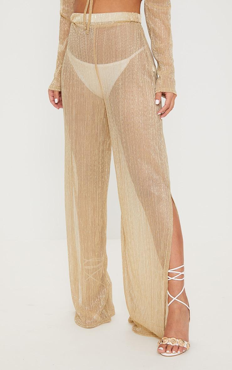 Petite Gold Metallic Sheer Wide Leg Trousers 2