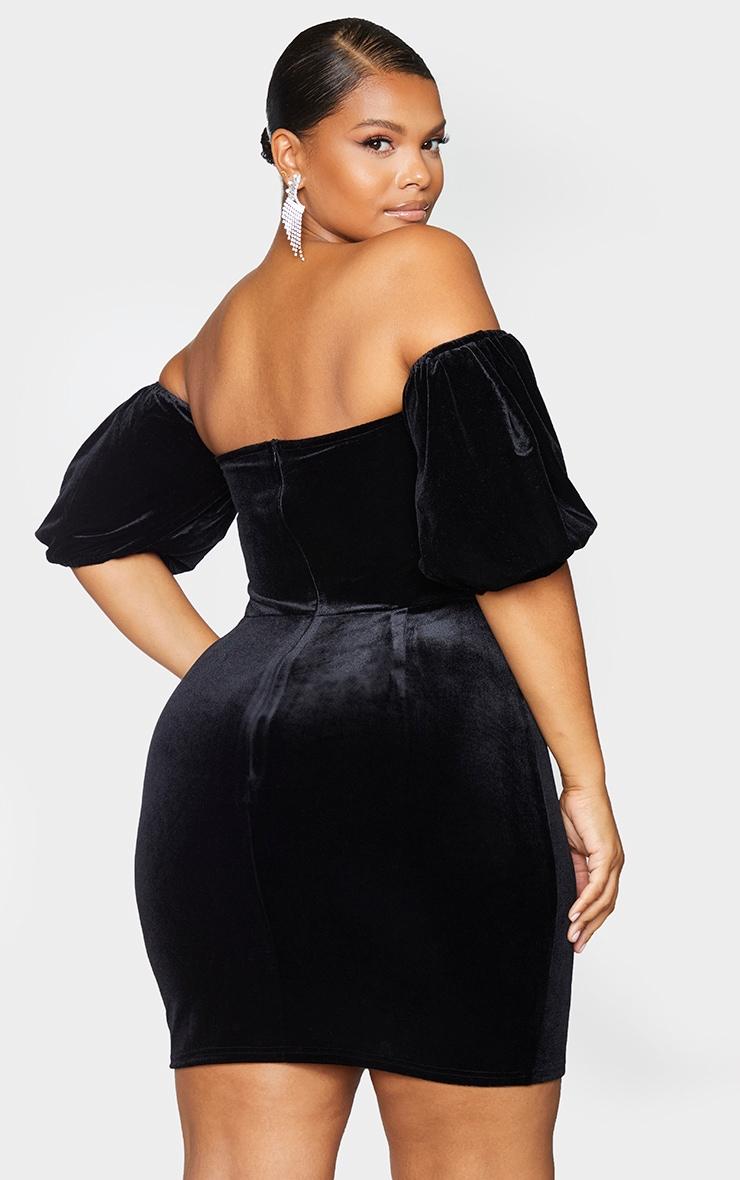 Plus Black Velvet Corset Bardot Mesh Insert Bodycon Dress 2
