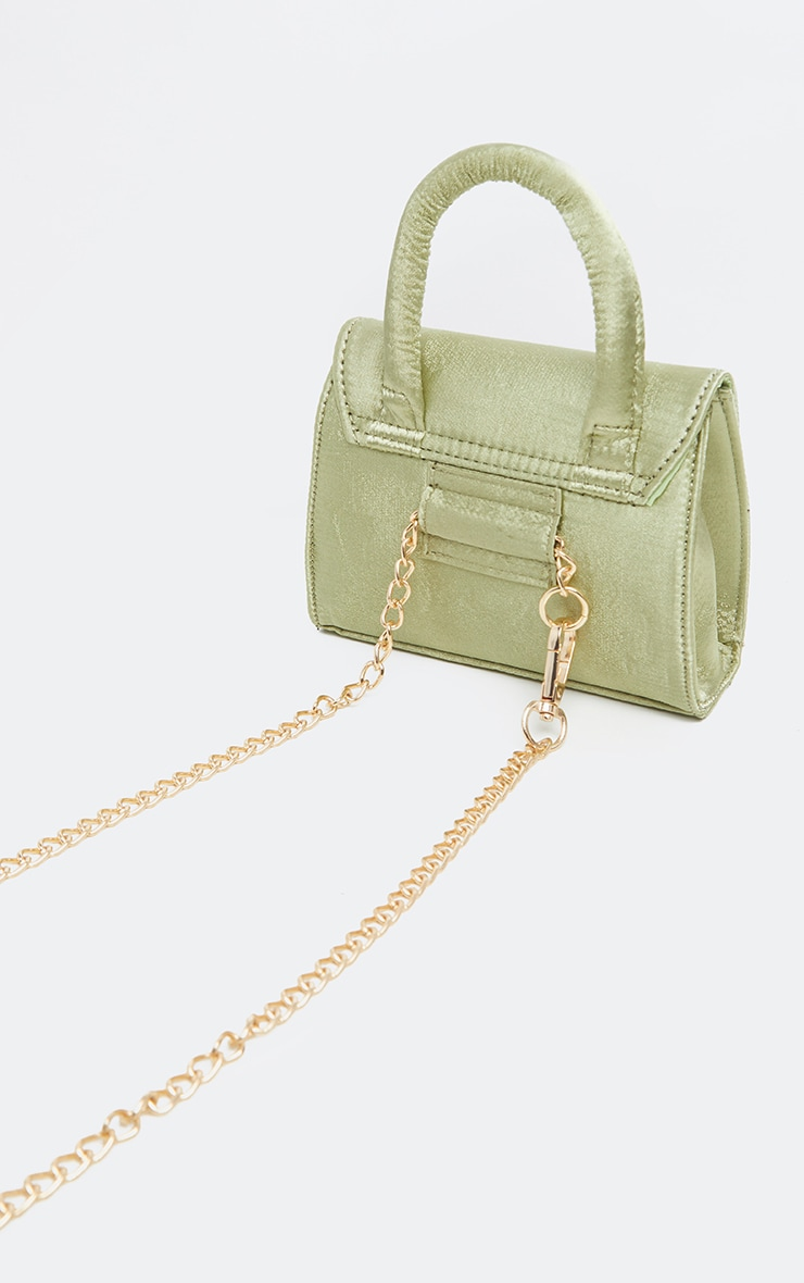 Sage Green Single Handle Chain Belt Bag 3
