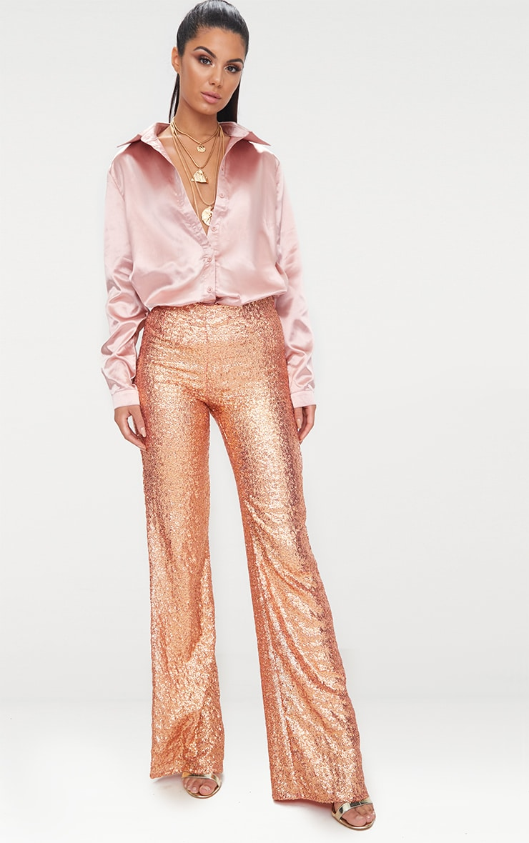 Rose Gold Satin Button Front Shirt  4