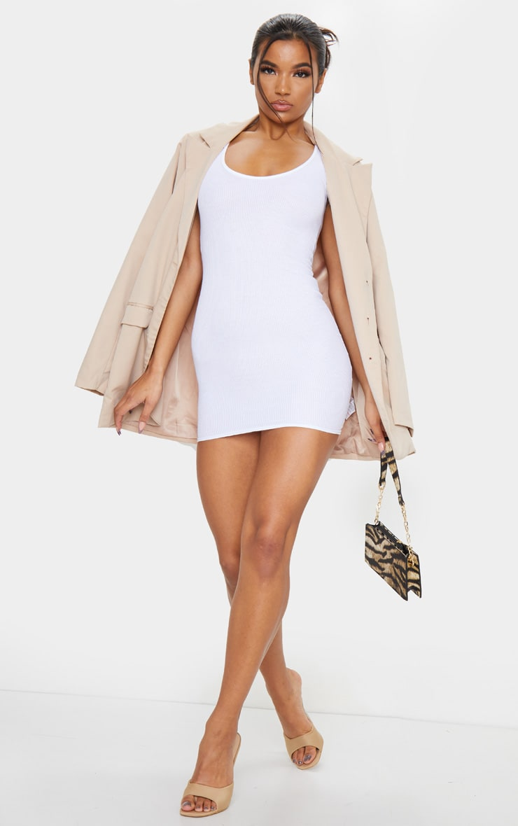 White Ribbed Scoop Neck Bodycon Dress 3