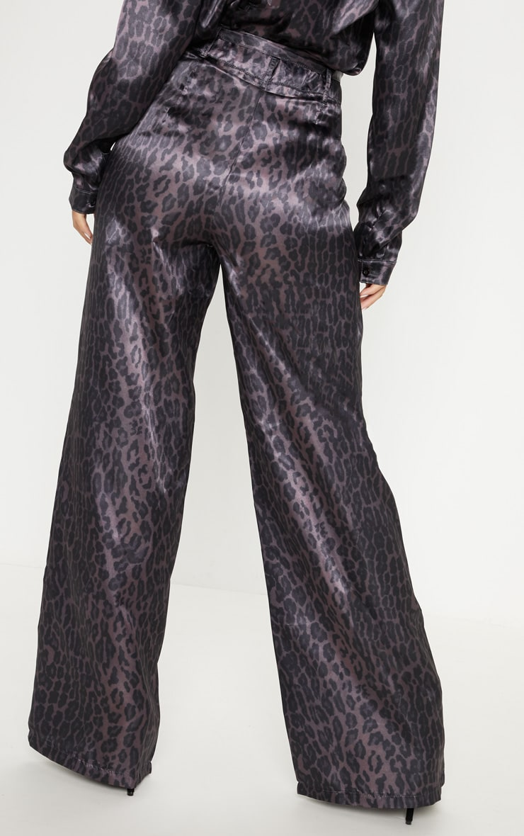 Purple Leopard Print Belted Waist Printed Wide Leg Trouser 4