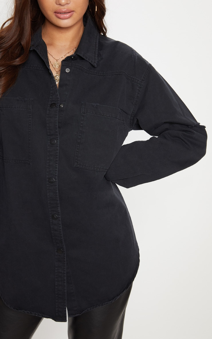 Black Oversized Lightweight Denim Shirt 4