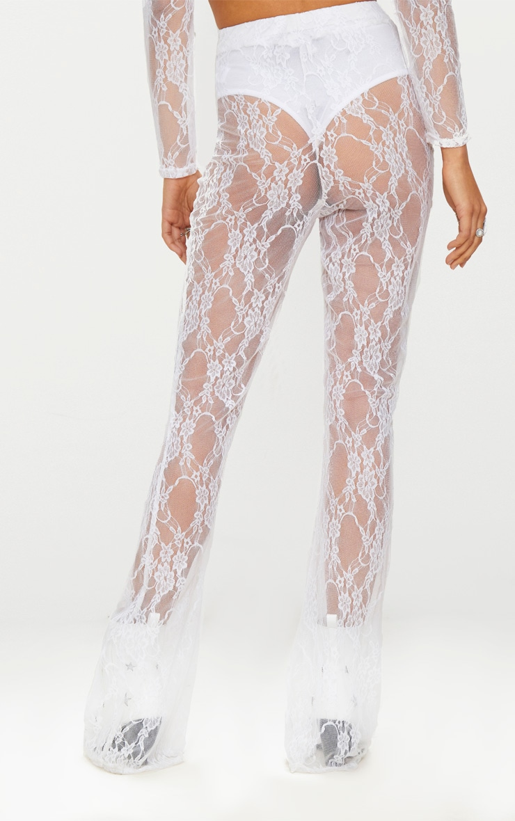 white Lace Flared Trousers 3
