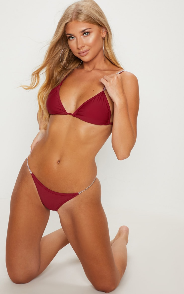Burgundy Diamante Strap Bikini Bottom 1
