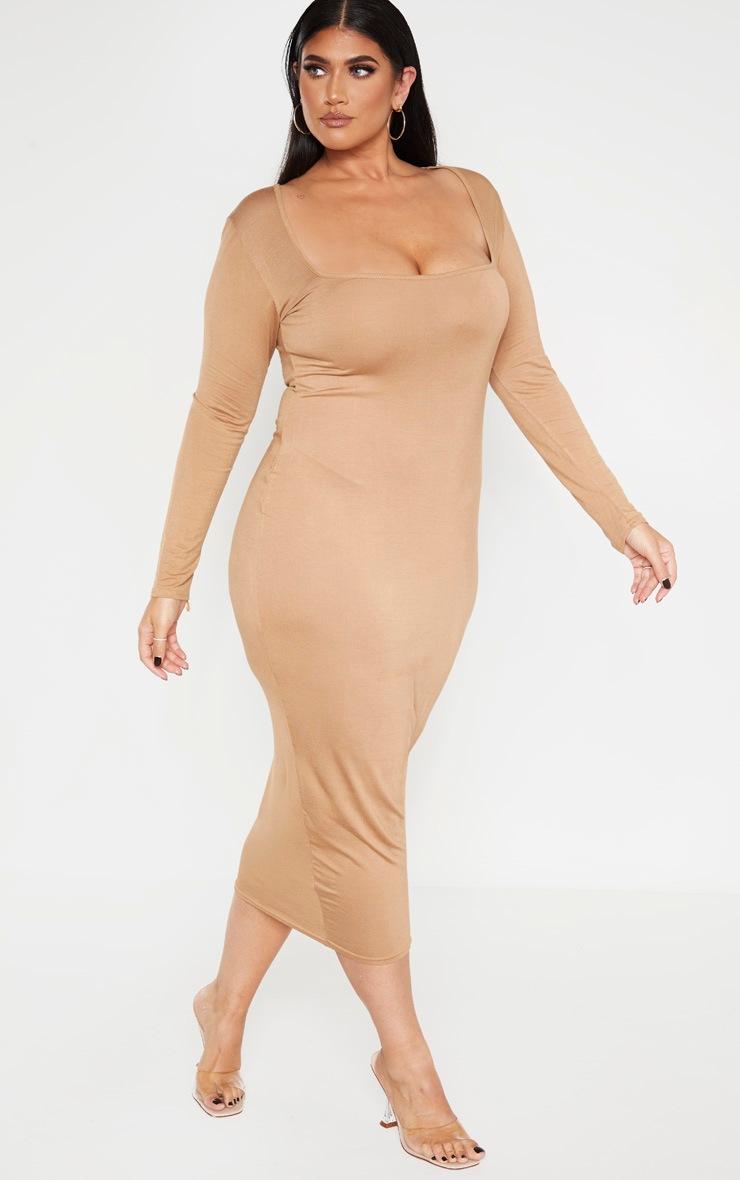 Plus Camel Jersey Long Sleeve Midi Dress 4
