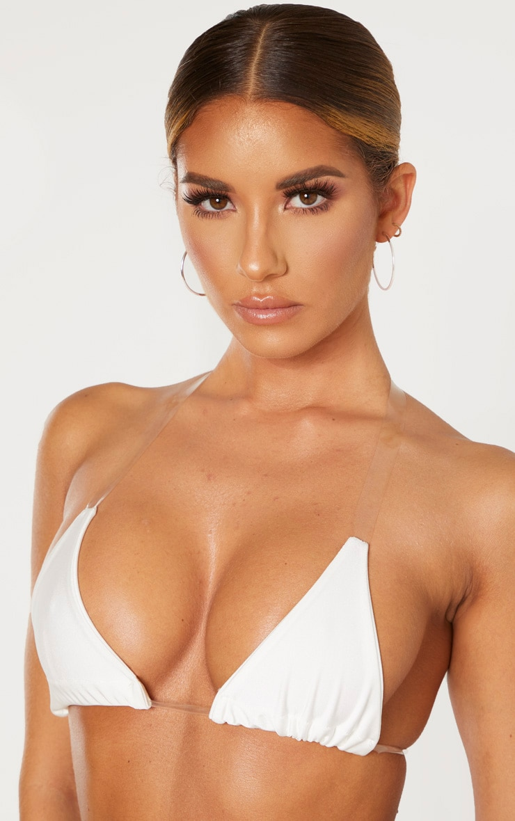 White Clear Strap Triangle Bikini Top 5