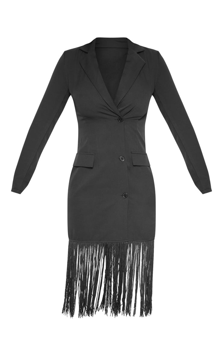 Black Tassel Open Back Blazer Dress 3