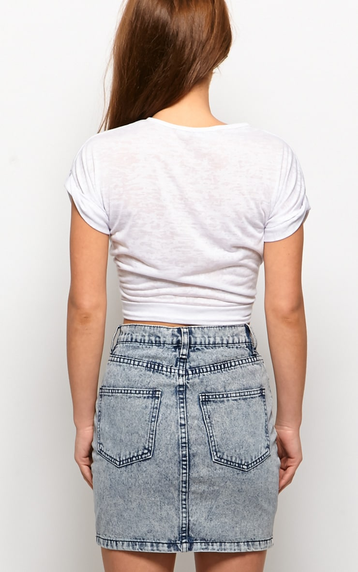 Cheyenne Bleached Denim High Waist Mini Skirt 2
