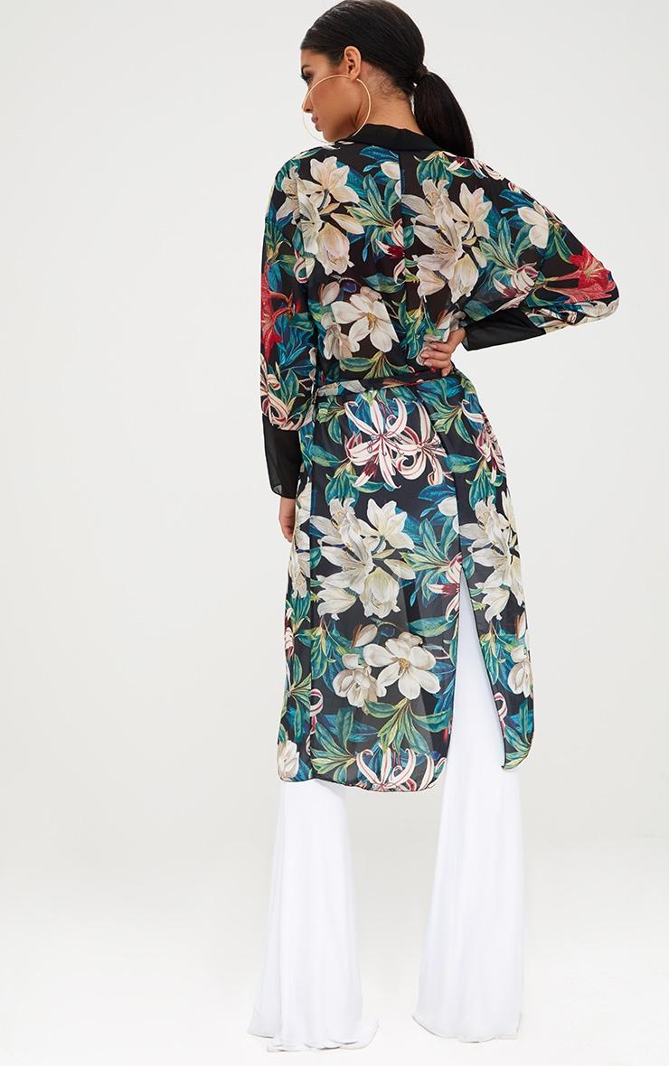 Black Floral Kimono 2