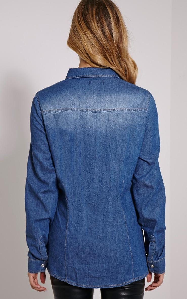 Eedie Mid Blue Wash Fitted Denim Shirt 2