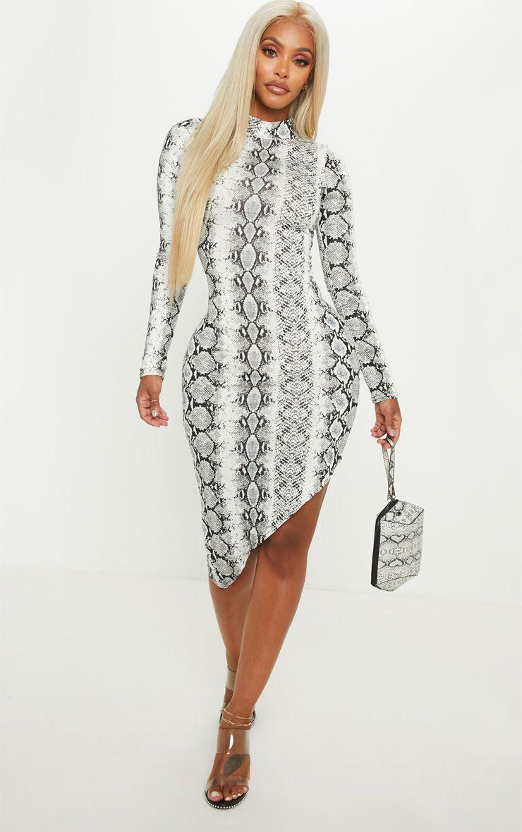 82715b1bf7c11 Shape Grey High Neck Snake Bodycon Dress | PrettyLittleThing