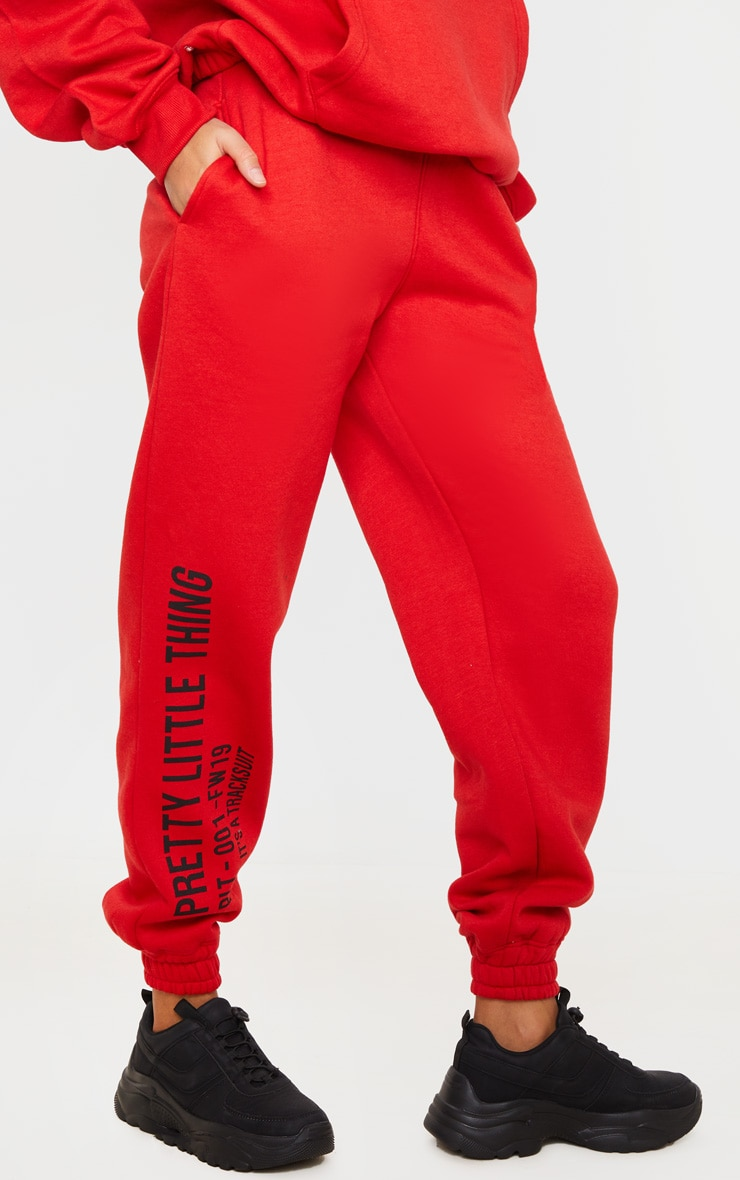 PRETTYLITTLETHING Red Slogan Printed Joggers 2