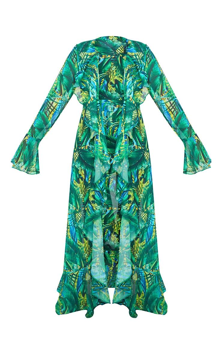 Green Tropical Extreme Frill Kimono 6