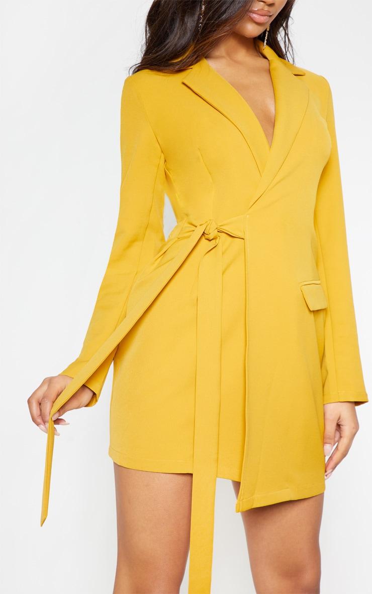 Mustard Tie Detail Blazer Dress 6