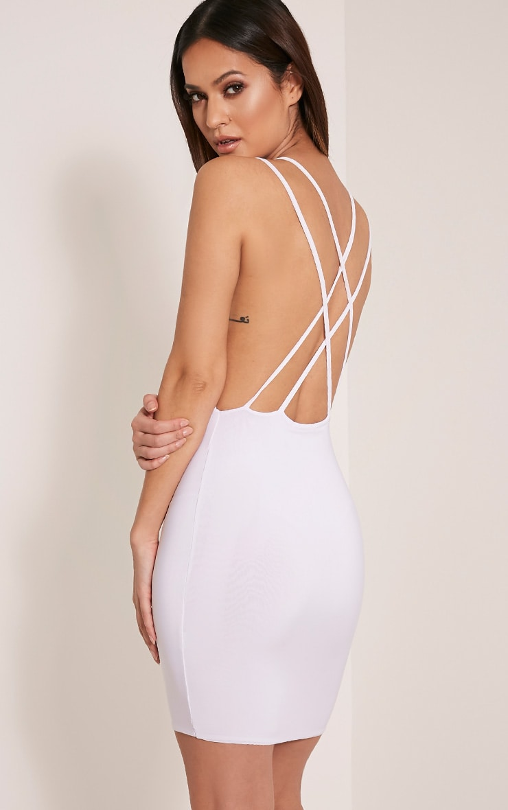 Dacey White Double Cross Back Bodycon Dress 1