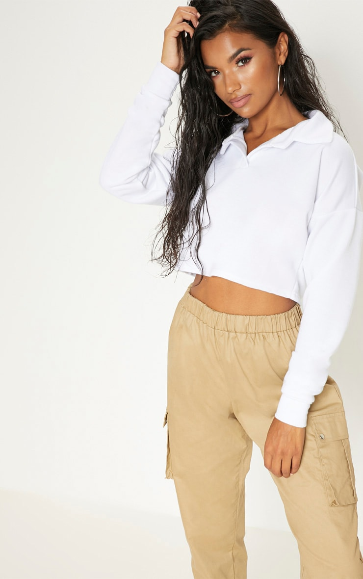 White Collar Polo Long Sleeve Crop Top 1