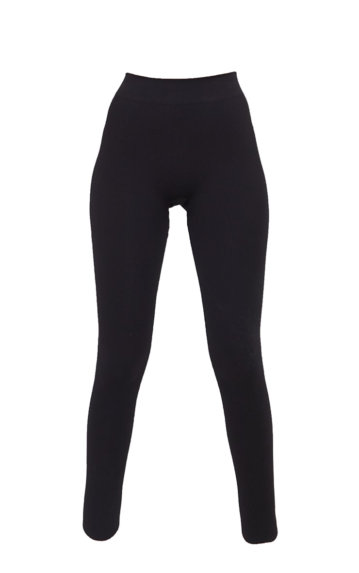 Tall  Black Structured Contour Ribbed Leggings 5
