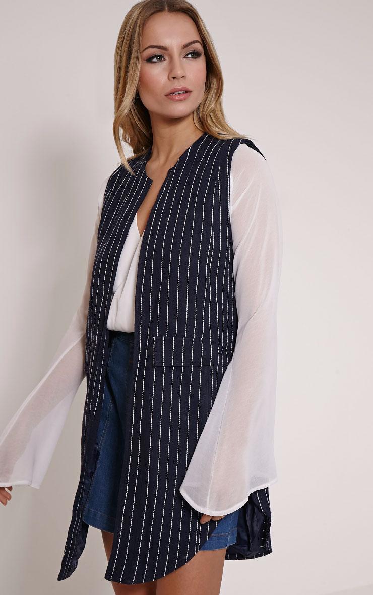 Eva Navy Pinstripe Sleeveless Blazer 3
