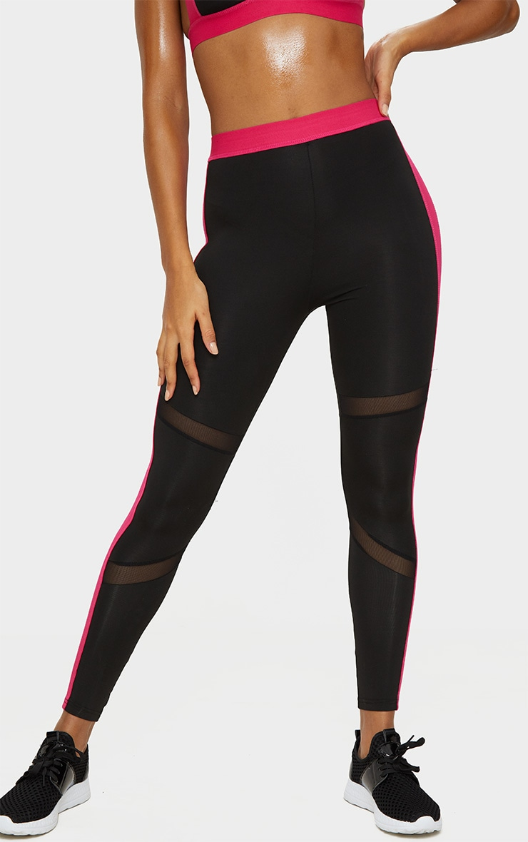 PrettyLittleThing Pink Band Leggings 2