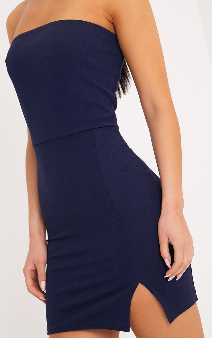 Layala robe moulante bandeau détail fente bleu marine 5