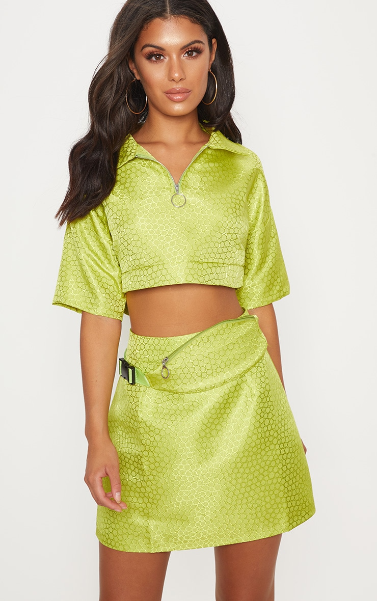 Lime Green Jacquard High Waisted Skirt 2
