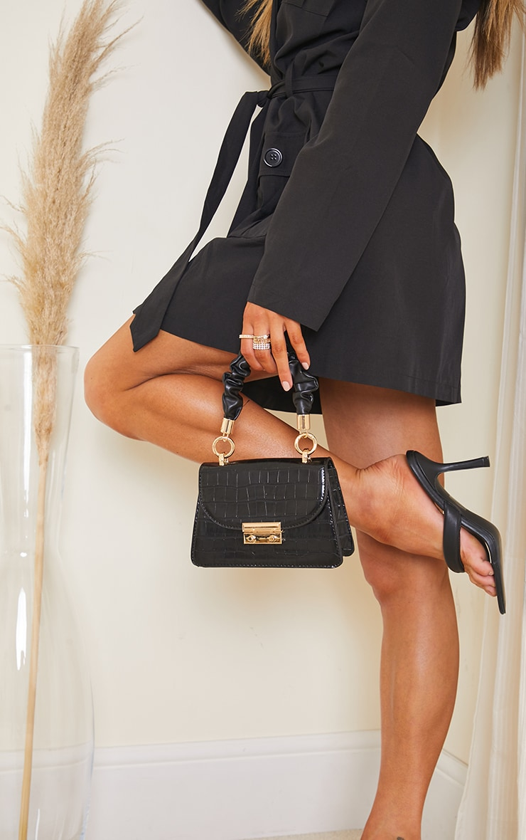 Black Ruched Handle Croc Grab Bag 2
