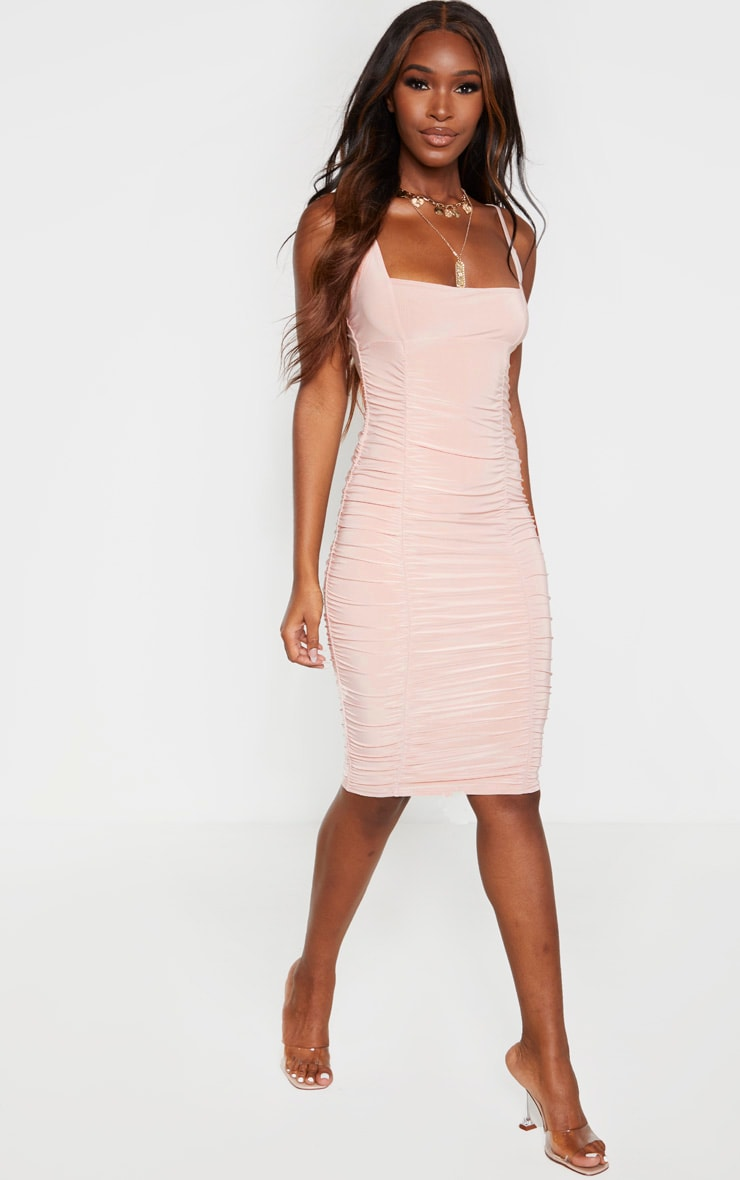 Stone Slinky Strappy Ruched Side Detail Midi Dress 4