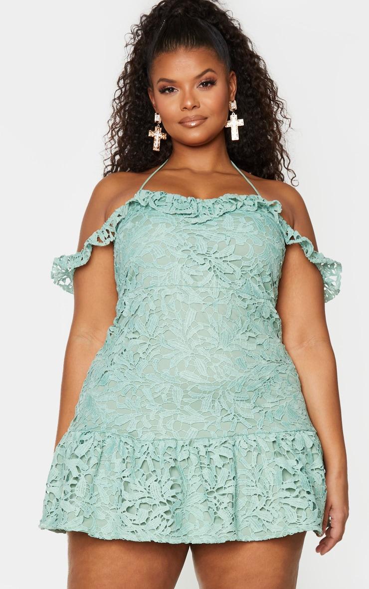 Plus Sage Green Lace Bardot Frill Hem Bodycon Dress 1