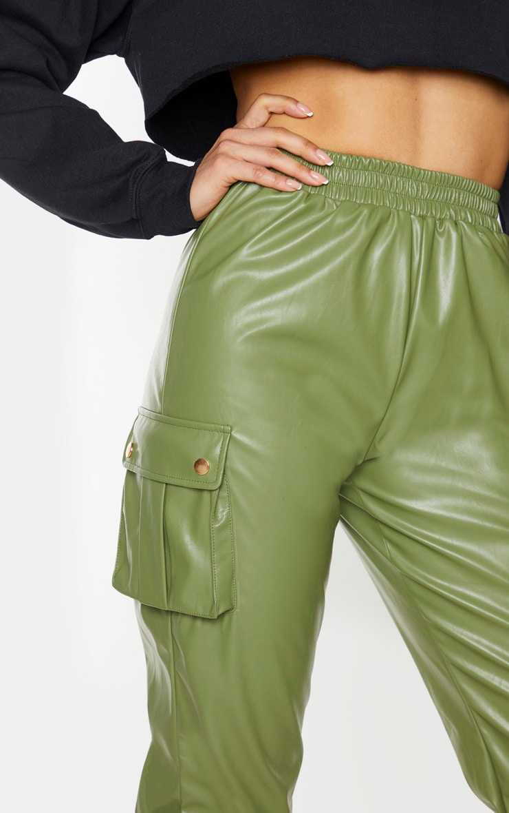 Tall Khaki Faux Leather Pocket Detail Jogger 5